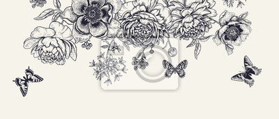 Naklejka Luxurious decoration. Garland of luxurious blooming peonies, butterflies and birds.