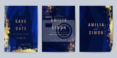 Naklejka Luxury Blue and Gold invite card, Vector invitation design with golden brush, Gold Powder and blue watercolor decoration style background design for wedding and cover design template.