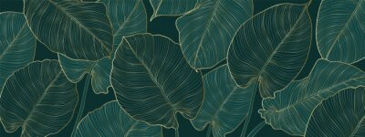 Naklejka Luxury gold and nature green background vector. Floral pattern, Golden split-leaf Philodendron plant with monstera plant line arts, Vector illustration.