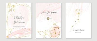Naklejka Luxury Gold invite frame design vector. Invitation design for wedding, VIP Invitation card, Image frame, wall art decoration. Water color frame design. vector illustration.