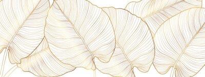 Naklejka Luxury gold nature background vector. Floral pattern, Golden split-leaf Philodendron plant with monstera plant line arts, Vector illustration.
