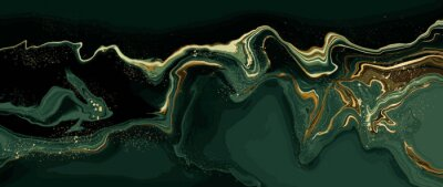 Naklejka luxury wallpaper. Green marble and gold abstract background texture. Dark green emerald marbling with natural luxury style swirls of marble and gold powder.