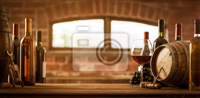 Luxury wines and barrel in the cellar