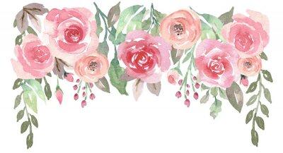Naklejka Luźny Akwarela kwiatowy kropla z różami