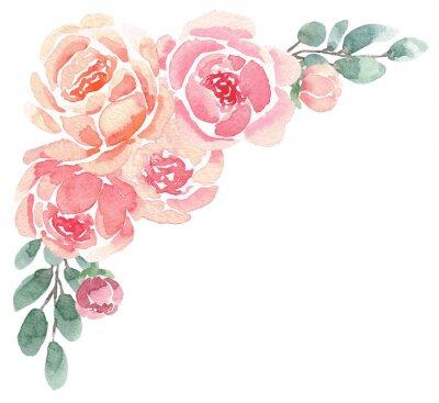 Naklejka Luźny kwiatowy róg akwarela z piwonie