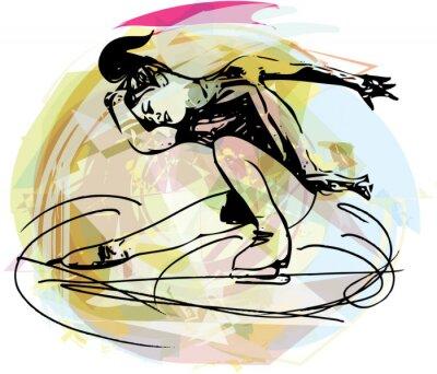 Naklejka łyżwiarka łyżwiarstwo kobieta w kolorowe areny sportowej