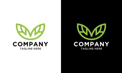 Naklejka M leaf letter logo design. M icon design. Green letter m leaf icon vector icon. Green Eco Letter M Logo Template Design. Letter M With Leaf Luxury Logo.