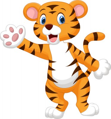 Naklejka Macha ręką ładny tygrys