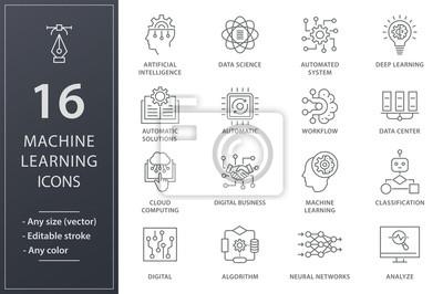 Naklejka Machine learning line icons set. Black vector illustration. Editable stroke.