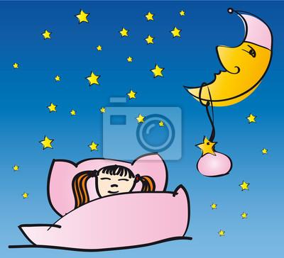 Naklejka Mädchen schläft mit Mond und Sternen
