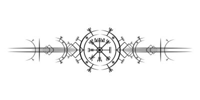 Naklejka Magic ancient viking art deco, Vegvisir magic navigation compass ancient. The Vikings used many symbols in accordance to Norse mythology,  widely used in Viking society. Logo icon Wiccan esoteric sign