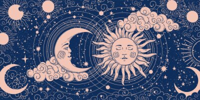 Naklejka Magic banner for astrology, divination, magic. The device of the universe, crescent moon and sun with moon on a blue background. Esoteric vector illustration, pattern