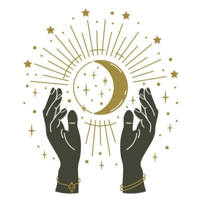 Magic hands holding moon. Hand drawn mystical arms with moon, magical symbol, witchcraft mystic arms holding moon and stars vector illustration. Magic vintage, human hands mysticism