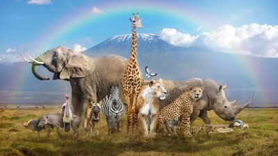 Naklejka Magical African Wildlife Safari Scene