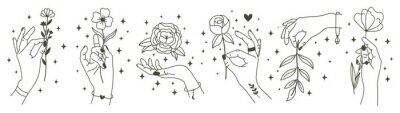 Magical hands holding flowers. Minimalist hands and flowers, abstract hand drawn floral symbols. Modern magical tattoo elements vector illustration set. Magic flower, mystic hand beauty with bloom