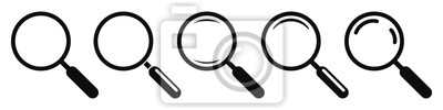 Naklejka Magnifying glass instrument set icon, magnifying sign, glass, magnifier or loupe sign, search – stock vector