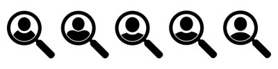 Naklejka Magnifying glass looking for people icon, employee search symbol concept, headhunting, staff selection, vector illustration