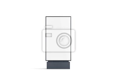 Naklejka Makieta pusty transparent biały pylon, widok z przodu, na białym tle, renderowania 3d. Makieta pustego oznakowania zewnętrznego. Wyczyść plakat uliczny billboard na reklamę. Wyświetl zewnętrzny szablo