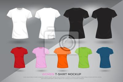 Naklejka Makieta t-shirtów damskich, Zestaw szablonów t-shirtów czarno-białych i kolorowych. przednia i tylna koszula widokowa makiety. ilustracji wektorowych