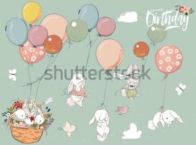 Naklejka Mała kolekcja zając z balonem