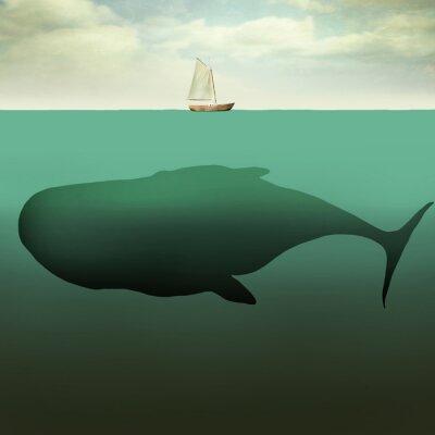 Naklejka Mała łódź i gigantyczny wieloryb