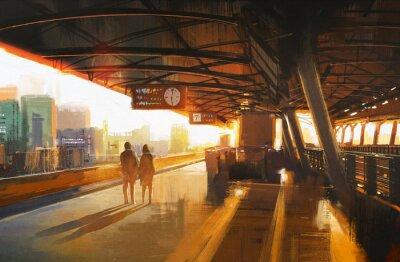 Naklejka malarstwo przedstawiające parę czeka na pociąg na stacji