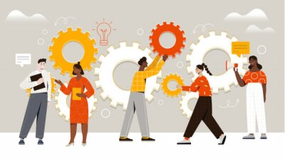 Naklejka Male and female characters are assembling cogwheels together at work. Concept of work operations and teamwork productivity. Business workflow as cogwheel mechanism. Flat cartoon vector illustration