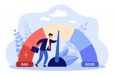 Naklejka Male businessman with credit score scale. Young man changing personal financial account information from poor to good. Financial growth, career. Business reputation flat vector colorful illustration
