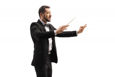 Naklejka Male conductor in a suit conducting with a baton and gesturing with hand