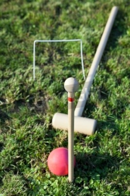 mallet, red ball in game of croquet on green lawn in summer day