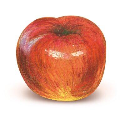 Naklejka Malowane czerwone jabłko z wycinek ścieżki