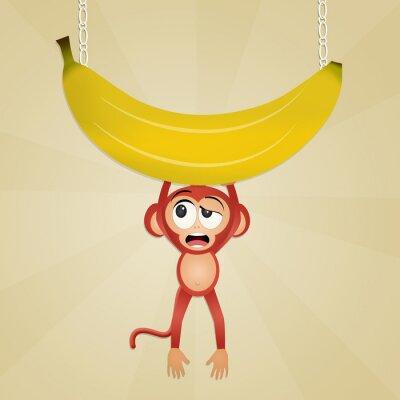 Naklejka małpa z banana