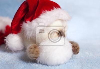 Mały kot na sobie kapelusz Mikołaja śpi na pomponem