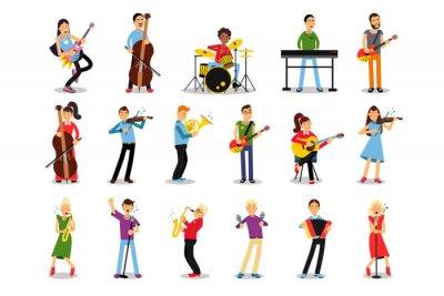 Naklejka Man and Woman Musicians Playing Musical Instruments Vector Illustration Set
