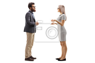 Naklejka Man and woman standing and talking