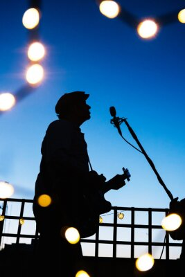 Naklejka Man singing on a night live concert with microphone. Acoustic music festival at spring and summer nights. Music star performing with a guitar at sunset.