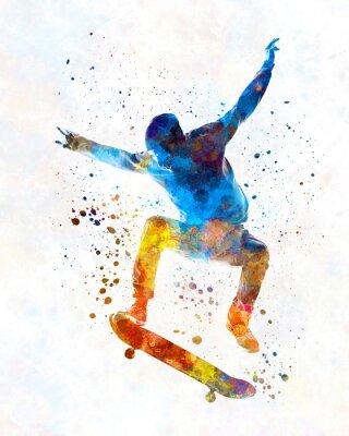 Naklejka Man skateboard 01 in watercolor