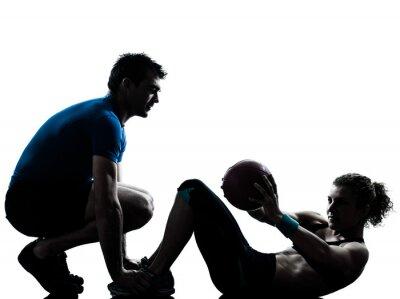 Naklejka man woman exercising weights workout fitness ball silhouette