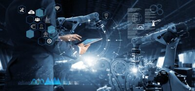 Naklejka Manager Technical Industrial Engineer working and control robotics with monitoring system software and icon industry network connection on tablet. AI, Artificial Intelligence, Automation robot arm