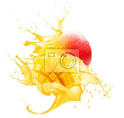 Naklejka mango in juice splash isolated on a white background
