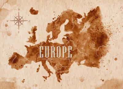 Naklejka Map Europe retro
