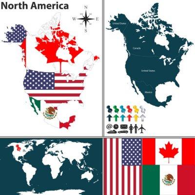 Naklejka Mapa Ameryki Północnej