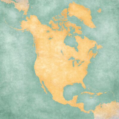 Naklejka Mapa Ameryki Północnej - Blank Map (Vintage Series)