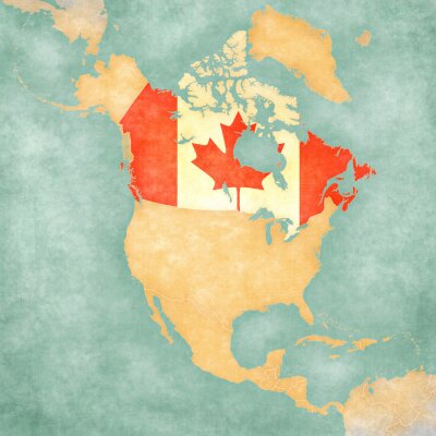 Naklejka Mapa Ameryki Północnej - Kanada (Vintage Series)