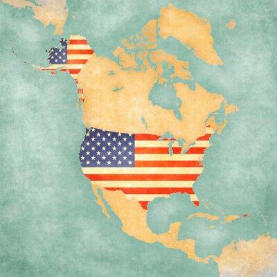 Naklejka Mapa Ameryki Północnej - USA (vintage series)
