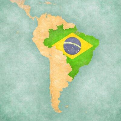 Naklejka Mapa Ameryki Południowej - Brazylia (Vintage Series)