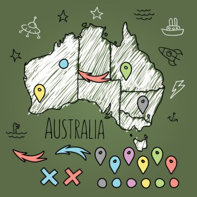 Naklejka Mapa doodle na zielonej tablicy Australii z pinami i dodatki