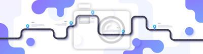 Naklejka Mapa drogowa i infografiki trasy podróży szablon. Wijąca drogowa linii czasu ilustracja. EPS 10