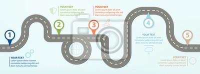 Naklejka Mapa drogowa, Płaska konstrukcja ilustracji wektorowych Infographic elementy przedstawiające kroki w postępie gospodarczym
