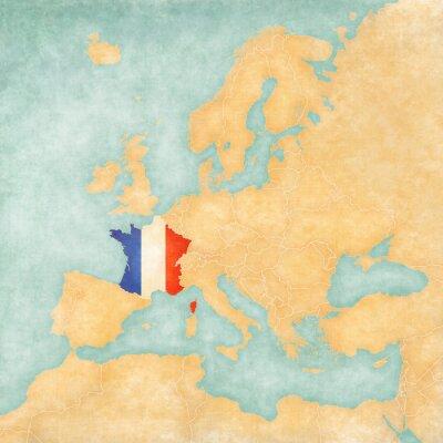 Naklejka Mapa Europy - Francja (Vintage Series)